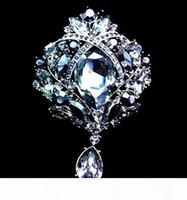 Wholesale large diamante brooches for sale - Group buy Fashion l Waterdrop Colorful Drop Brooch Exquisite Big Diamante Rhinestones Jewelry Brooch Large Crystal Women Broach Colors