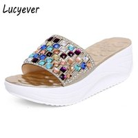 Wholesale summer platform sandals rhinestones for sale - Group buy Lucyever New Summer Colorful Rhinestone Slipper Wedge Platform Shoes Woman Fashion Crystal Beach Flip Flops Leisure Sandals A A1