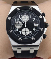 relojes precisos al por mayor-Royal Oak Offshore Precise Quartz Chronograph Outdoor Masculino Reloj para hombre Relojes Cronómetro 42MM Dial negro con correa de goma negra
