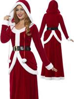 santa claus frauen outfit groihandel-Frauen Deluxe Fräulein Weihnachtsmann-Kostüm-erwachsene Frauen Sexy Santa Claus Maxikleid Weihnachten XMAS Sweet Red Ausstattungs-Abendkleid