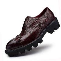 sapatos de jacaré vermelho venda por atacado-Sipriks Thick sola de borracha Sapatos Homens Elevador Sapatos de couro Genuine Red Brown Mens Topsiders Derby Alligator Leather