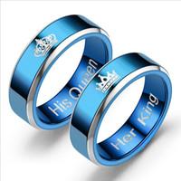 ingrosso re regine anelli-Anello di fidanzamento di nuova moda Blue Her King / His Queen Coppie Anello in acciaio inossidabile Anello di fidanzamento per matrimonio Anniverdary di San Valentino