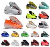 tamanho das botas de futebol venda por atacado-Super Mercurial Superfly VI 360 Elite FG KJ 6 XII 12 CR7 Ronaldo Neymar Dos Homens Das Mulheres Meninos Sapatos De Futebol Alta Botas De Futebol Chuteiras Tamanho EUA 3-11