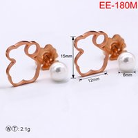 Wholesale bears earrings for sale - Group buy Dropshipping Silver Stainless Steel Gold Plated High Quality Pearl Bear Hollow Stud Earrings Jewellery Women Jewelry