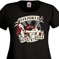 Wholesale free rockabilly online - Tee Shirt Femme ROCKABILLY AND ROCK N ROLL Pin Up Retro Vinyle s s SUN Men Women Unisex Fashion tshirt