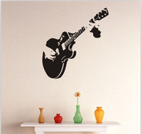 Wholesale kids room wallpaper free shipping resale online - Brand New Guitar Wall Stickers Waterproof Self adhesive PVC Wallpapers Arts Stickers Can Be Removable Background Decoration