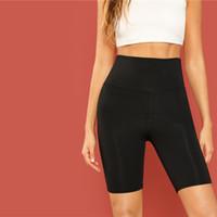pantalones modernos al por mayor-Casual Negro Sólido Recortar Cintura ancha Ciclismo Leggings cortos Verano Moderno Dama Mujer Pantalones Pantalones Envío de la gota