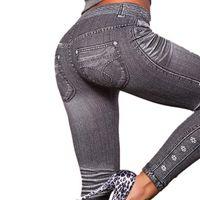 ingrosso tipo leggings-Work Out Leggings grigi di stile di modo Demin Nq989354 Leggings donna Leggings Trendy Super Deal media Jeans Tipo Legging Jeans