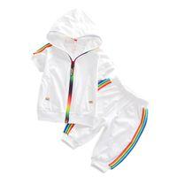 ingrosso ragazzi 2t 4t vestiti-Fashion Kids Boy Girl Clothes Sportswear Summer Baby Colorful Felpe con cappuccio Shorts 2Pcs / set Bambini Outfit Toddler Cotton Tracksutis