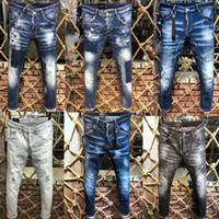 tissu long achat en gros de-Jeans gros-mâle Biker détruit denim tissu élastique Slim Fit Denim skinny Pantalons skinny Joggers Skinny Men déchiré 44-54