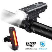 accessoires de vélo lumières achat en gros de-Étanche Rechargable Vélo Lumière LED Vélo Lumière Set Intelligent Capteur Avant Feux Vélo Accessoires Lampe # 3N26