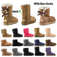 kısa bayan için ayak bileği botları toptan satış-2020 Yeni tasarımcı botlar Avustralya kadınlar kız klasik kar botları kış siyah kestane moda boyutu 36-41 için ayak bileği kısa yay kürk çizme bowtie