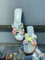 sapatos de couro chinelos sandálias venda por atacado-Graffi Oran Sandálias Mulheres Chinelos Sapatos De Couro Genuíno Das Mulheres Planas Scuffs Chinelos Pintados Dedo Aberto Ao Ar Livre Flip Flop Sapatos Ao Ar Livre Diariamente