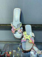 düz sandaletler flip floplar toptan satış-Graffi Oran Sandalet Kadın Terlik Hakiki Deri Ayakkabı Kadın Düz Scuffs Boyalı Terlik Açık Toe Açık Flip Flop Günlük Açık Ayakkabı