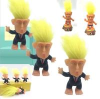 cabelo para bonecas de silicone venda por atacado-Donald Trump Boneca Troll EUA Presidente Eleição Modelo de Cabelo de Ouro Trump Boneca Mão Decoração de Casa Carro Decoração Presente Dos Miúdos Novidade Itens 5075