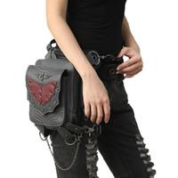 ingrosso borse di roccia rosse-Marsupio gotico Retro Rock Vintage Crossbody Bags Nero PU Leather Leg Bags Raffreddare Red Bat per donne e uomini