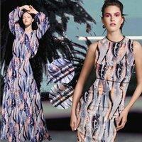 ingrosso tessuto di raso di seta arancione-118CM Wide 19MM Print 93% Seta 7% Spandex Blu Arancione Tessuto di seta elasticizzato satinato per giacca Cheongsam Camicia D1038