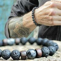 braclet perles charmes achat en gros de-Mode Antique Perles naturelles Pierre Bracelet Lava Charm Hématite en bois Hommes Braclet pour hommes Bijoux Cadeau Homme Armband