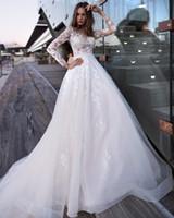 Wholesale wedding dress fur collar resale online - Vintage New White Long Wedding Dress High Collar Long Sleeves Appliques Tulle Vestido de noiva Bride Gowns Robe de mariee Vestidos