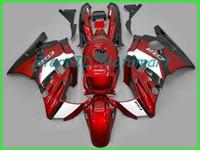 ingrosso carenatura cbr f2 1992-Kit carenatura moto per HONDA CBR600F2 91 92 93 94 CBR 600 F2 1991 1994 ABS Fiamme rosse nero Set carenature + regali HF37