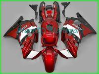 93 honda cbr f2 verkleidungen großhandel-Motorrad Verkleidungssatz für HONDA CBR600F2 91 92 93 94 CBR 600 F2 1991 1994 ABS Rot flammt schwarz Verkleidungssatz + Geschenke HF37