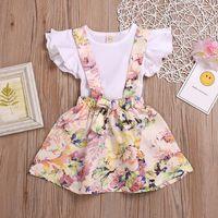 saias pequenas camiseta venda por atacado-Baby Girl Saia Set Little Sister Ruffle Voando Manga Camisas + Bowknot Strap Floral Vestido Ternos 2 Pcs