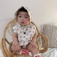 Wholesale korean hat for baby resale online - 3475 Korean Baby Cherry One Piece Romper And Hat Suit Summer Baby Girls Printed Bodysuit Sleeveless Overalls For Children