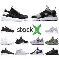 triple black sneakers for women بالجملة-Stock X Nike Air huarache IV 4.0 IV 1.0 mens running shoes triple black white red silver huaraches men trainers women sports sneakers