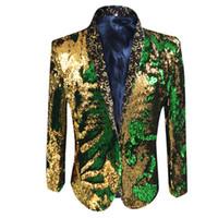 ouro lantejoulas apartamentos venda por atacado-Homens, Figurino Blazers 1 Parte sem botão de maneira regular brilhante do ouro verde lantejoulas padrão plano Jackets DJ Collar
