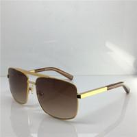 Wholesale designer sunglasses woman box resale online - Luxury Fashion Classic Designer Sunglasses for men Metal Square gold Frame eye Glasses UV400 vintage style Protection Eyewear With Box