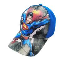 chapéus superman chapéus venda por atacado-2019 novo dos desenhos animados superman hat crianças dos desenhos animados de algodão boné de beisebol crianças hip hop cosplay chapéu h010