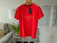 promenade en or achat en gros de-Mens Designer T Shirts Design 100% Coton Mode Homme Tee Shirt Avec Bouton Or Top Manches Courtes XS-XXL