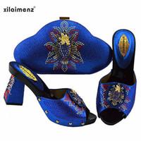königliche blaue schuhe für frauen hochzeit großhandel-Königsblau Farbe afrikanische Schuhe mit passender Tasche für Frau nigerianischen Schuh und Taschen Set High Quality Wedding Dress High Heels