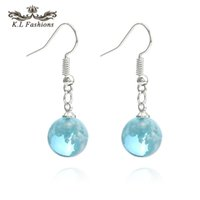 Wholesale acrylic ball earrings for sale - Group buy New Fashion Blue Sky White Cloud Ball Shape Dangle Eariing for Women Girls Korea Style Silver Plating Resin Hook Earring Jewelry Gift