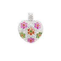 Wholesale silver chains flower heart pendants resale online - Heart Pendants Fit Chain Necklace Silver Multicolor CZ Pave Fashion Flower Pendants Accessories Jewelry Gift For Woman