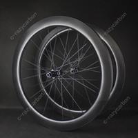 çukur kilidi seti toptan satış-Ücretsiz kargo! Aero Gamze Yol Disk Fren Tekerlekler Çakıl Cyclecross Karbon Dimple Tekerlekler Tubeless / Tüp DT Novatec Merkezleri Merkezi Kilit