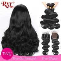 perucas feitas para mulheres negras venda por atacado-DIY perucas do laço da onda do corpo 3 pacotes com fecho 4x4 lace closure perucas para as mulheres negras pode ser feito em 300% densidade peruca