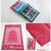 moslemischer gebetsmattenkompass großhandel-60 * 100cm tragbare wasserdichte Tasche muslimischen Gebetsteppich Matte Decke mit Kompass im Beutel 5 Farben ZZA1140