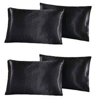 Wholesale standard pillow case size resale online - 2 Pair Silky Satin Pillowcase US Standard Size Luxury Pillow Case