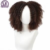 ombre siyah kahverengi peruk toptan satış-MSIWIGS Kahverengi Sentetik Kıvırcık Peruk Kadınlar için 3 Renkler Ombre Kısa Afro Peruk Afro-Amerikan 14 Inç Siyah Saç