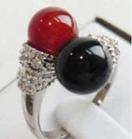 ingrosso le pietre nere squillano le donne-Anello da donna in jade di pietra preziosa Anello da donna in pietra rossa nera Spedizione gratuita