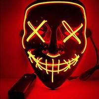 знаменитая полумаска оптовых-2019 Последний Halloween El Осветите маску, Colorful Люминесцентной маски КТВА партии водить маски Страшных масок Хэллоуина рождественских украшений