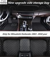 cojín del pie de la estera del piso del coche al por mayor-Mejora las alfombrillas de cuero para Mitsubishi Outlander 2003- 2016 2017 2018 Custom auto foot Pads automóvil alfombra cubierta