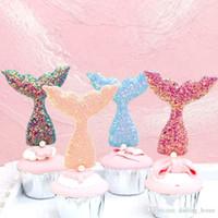 fuentes de la fiesta de cumpleaños de la magdalena al por mayor-4 colores Glitter Mermaid Cupcake Topper Decoración de boda Centros de mesa Accesorios de cocina Decoración para el hogar Suministros para la fiesta de cumpleaños