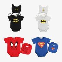 bebek batman kıyafetleri toptan satış-Ins Yeni çocuklar giysi tasarımcısı Romper Boy Spiderman Batman baskı Kısa Kollu Romper Şapka veya Önlüğü bebek Tırmanma ile 100% pamuk yaz giysileri