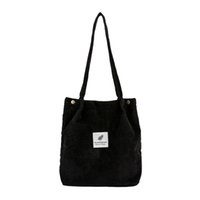 Wholesale high capacity mini gold resale online - High Capacity Women Corduroy Tote Ladies Casual Shoulder Bag Foldable Reusable Shopping Beach Bag Bolsas de hombro O12