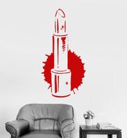 ingrosso autoadesivi della parete del vinile di bellezza-Rossetto Salone di bellezza Adesivi murali in vinile Camera di ragazze Adesivo stile moda Colori personalizzati disponibili Adesivo murale