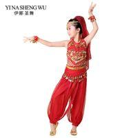 top indischen tanz großhandel-Neue kinder bauchtanz 5 stücke (top + pants + taille kette + armband + kopfschmuck) indian dance kleidung mädchen bauch bollywood kostüm