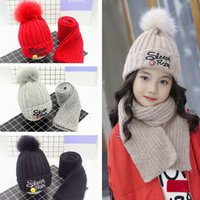 Wholesale knitted baby hat balls resale online - Baby Knitted Hats Scarf Sets Children Warm Winter Crochet Beanies Cap Fashion Soft Pompon Ball Hats Outdoor Ski Cap TTA1794