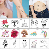 6x6cm CC Small Temporary Tattoo Watercolored Flower Black Beauty Women Cute Cat Dog Decal for Kids Unisex Hands Neck Arm Body Tattoo Sticker